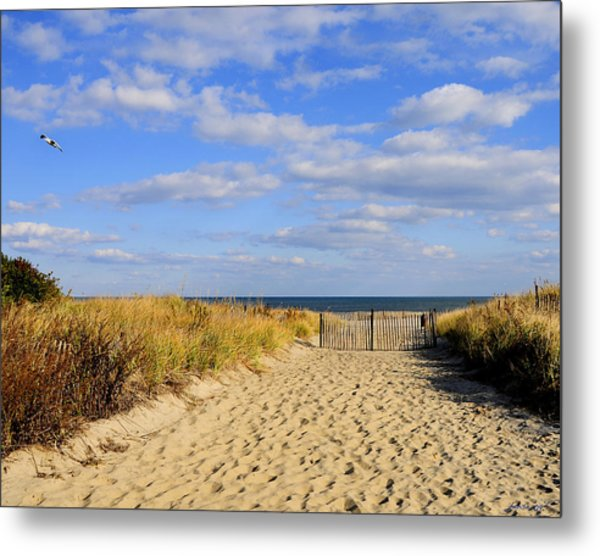 Winter Beach Sky Metal Print