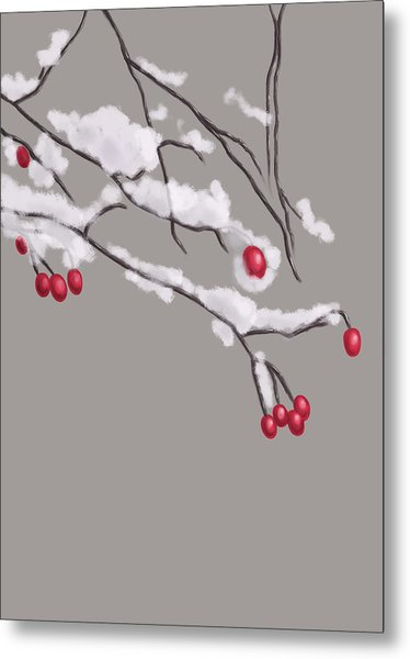 Winter Berries And Branches Covered In Snow Metal Print