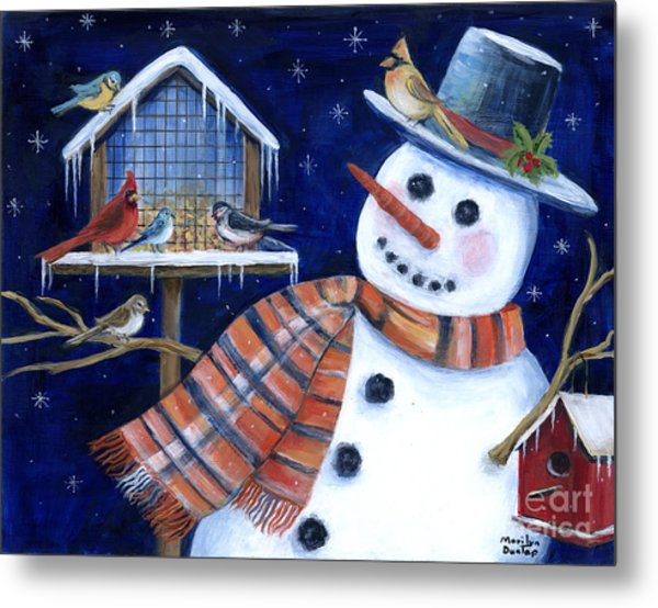 Winter Birds Delight Metal Print