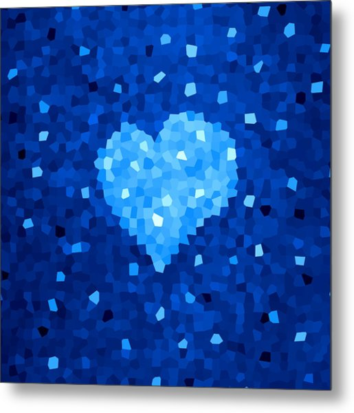 Winter Blue Crystal Heart Metal Print