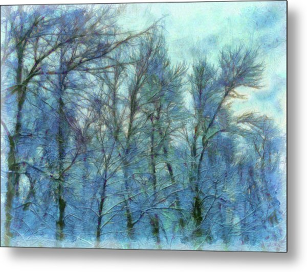 Winter Blue Forest Metal Print
