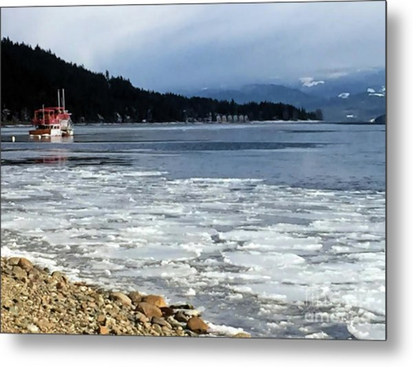 Cottage Life In Winter Metal Print