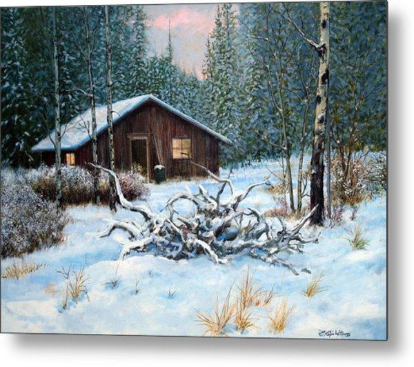 Winter Cabin Metal Print by E Colin Williams ARCA