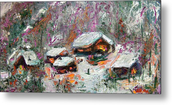 Winter Cabins By Ginette Metal Print