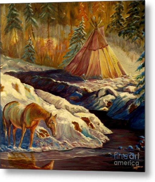 Winter Camping Metal Print