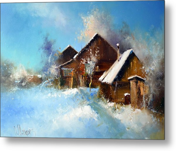 Winter Cortyard Metal Print