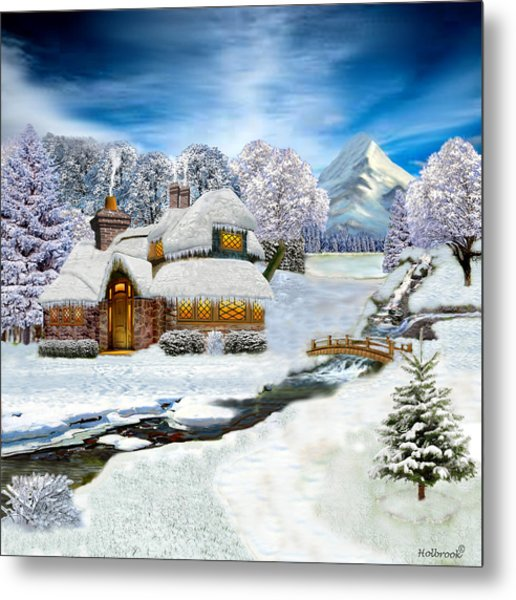 Winter Country Cottage Metal Print