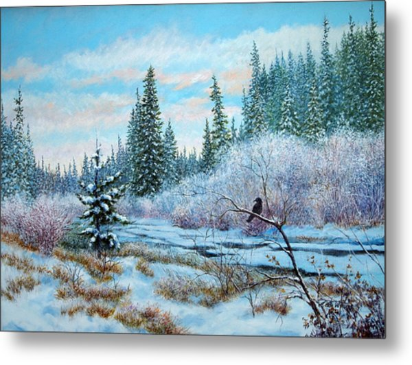 Winter Creek With Crow Metal Print
