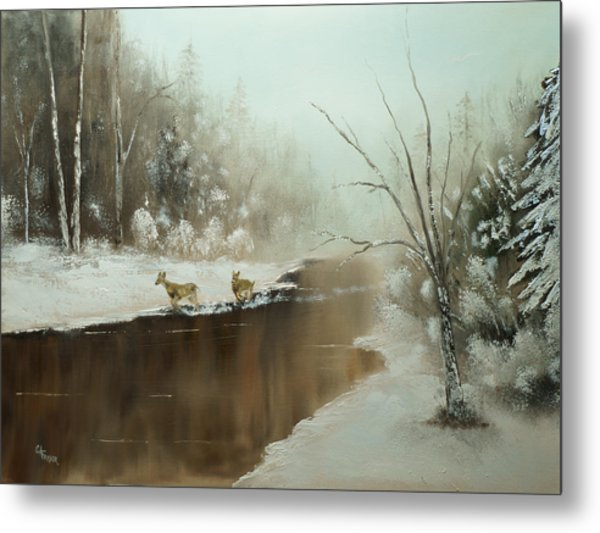 Winter Deer Run Metal Print