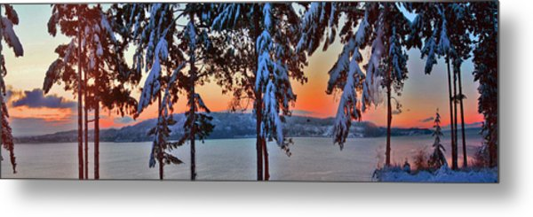 Winter Drama Sunrise Panorama Metal Print by Mary Gaines