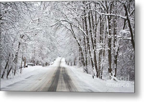 Winter Drive On Highway A Metal Print