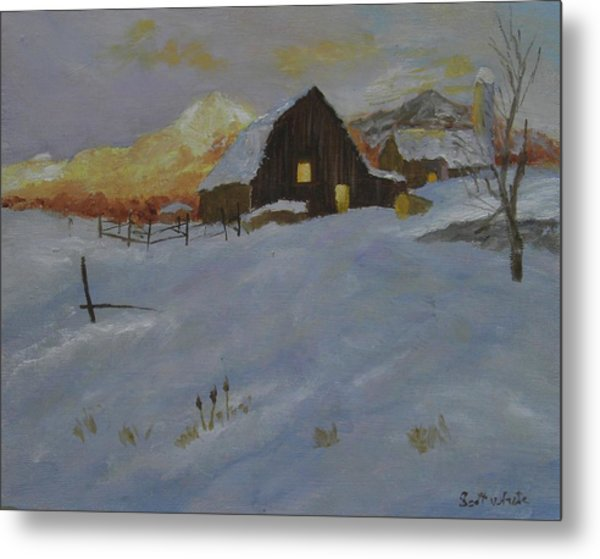Winter Dusk On The Farm Metal Print