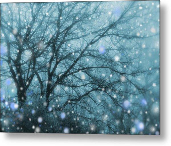 Winter Evening Snowfall Metal Print