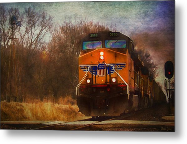 Winter Evening Union Pacific Train Metal Print