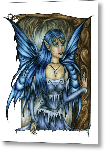 Winter Fairy Drawing Metal Print