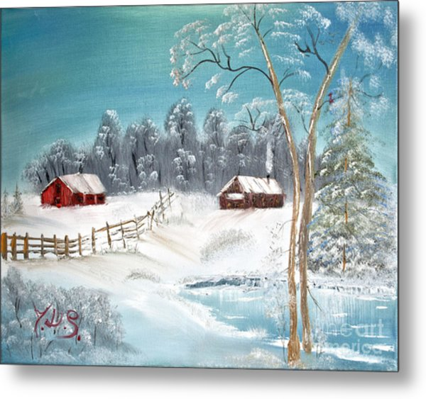 Winter Farm Metal Print