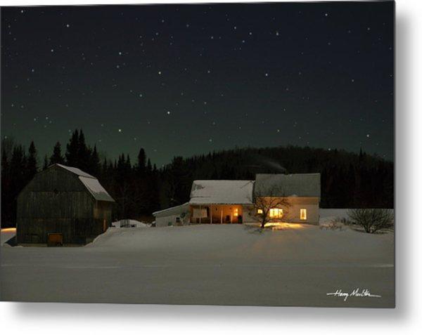 Winter Farmhouse Metal Print