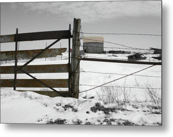 Winter Fence Farm Metal Print