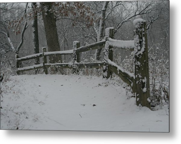 Winter Fence Trail H Metal Print