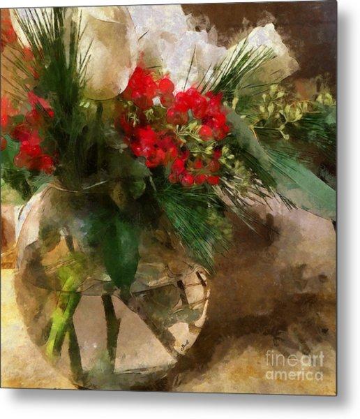Winter Flowers In Glass Vase Metal Print