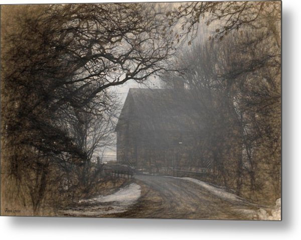 Winter Foggy Countryside Road And Barn Metal Print
