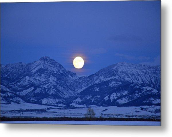 Winter Full Moon Over The Rockies Metal Print