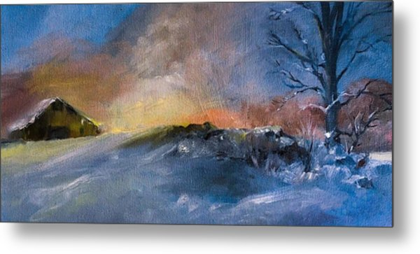 Winter Horse Barn Snowy Landscape Metal Print