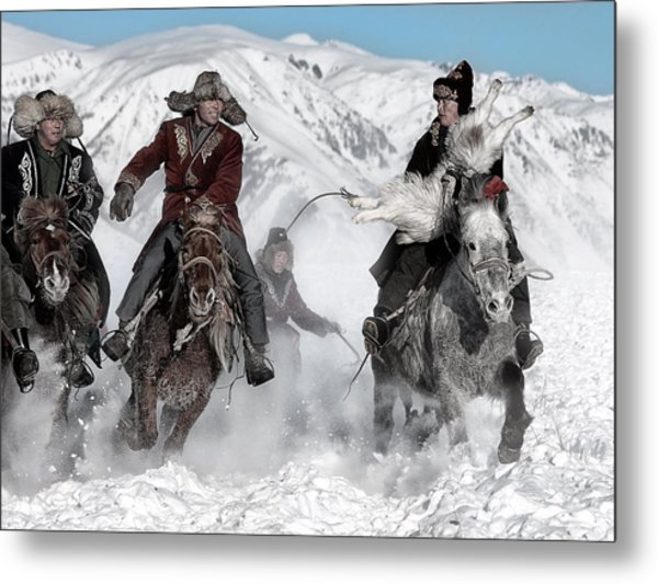 Winter Horse Race Metal Print