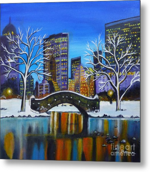 Winter In New York- Night Landscape Metal Print