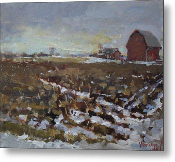 Winter In The Farm Metal Print