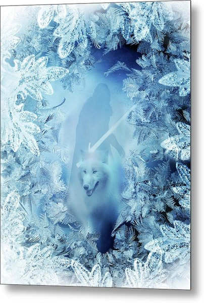 Winter Is Here - Jon Snow And Ghost - Game Of Thrones Metal Print