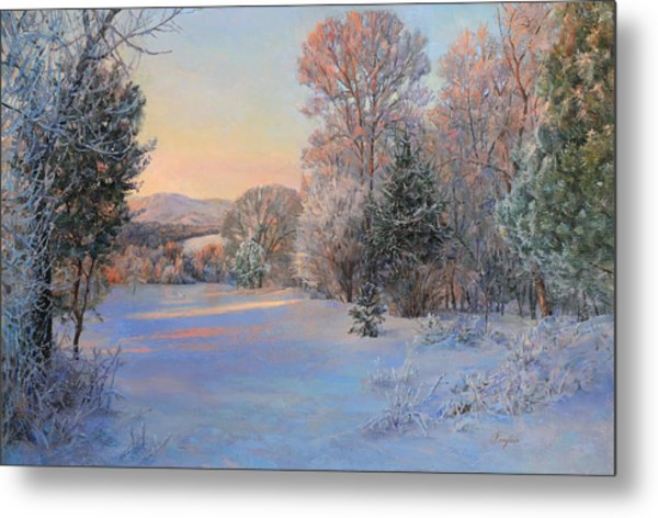 Winter Landscape In The Morning Metal Print