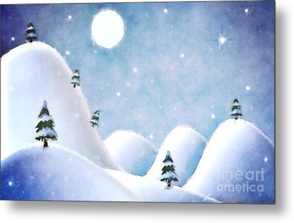 Winter Landscape Under Full Moon Metal Print