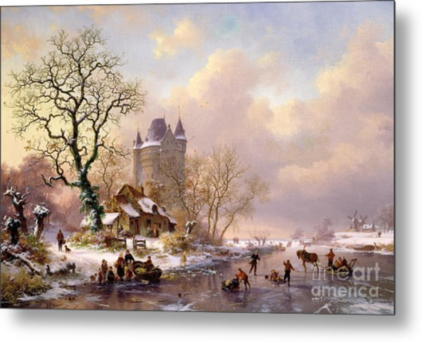 Winter Landscape With Castle Metal Print