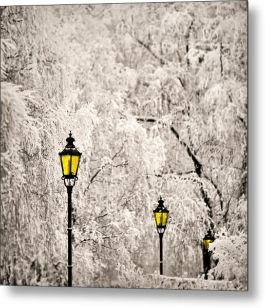 Winter Lanterns Metal Print
