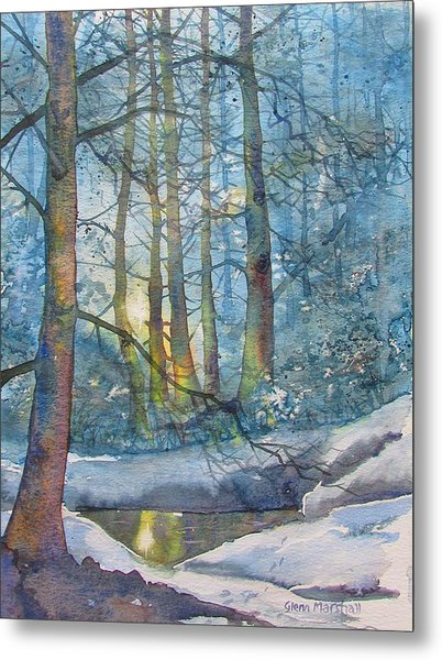 Winter Light In The Forest Metal Print