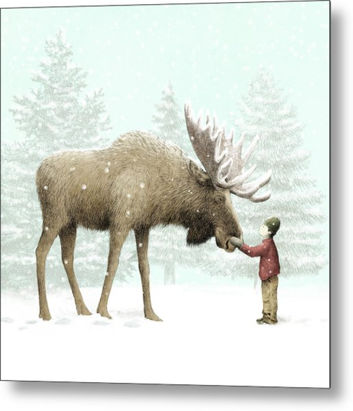 Winter Moose Metal Print