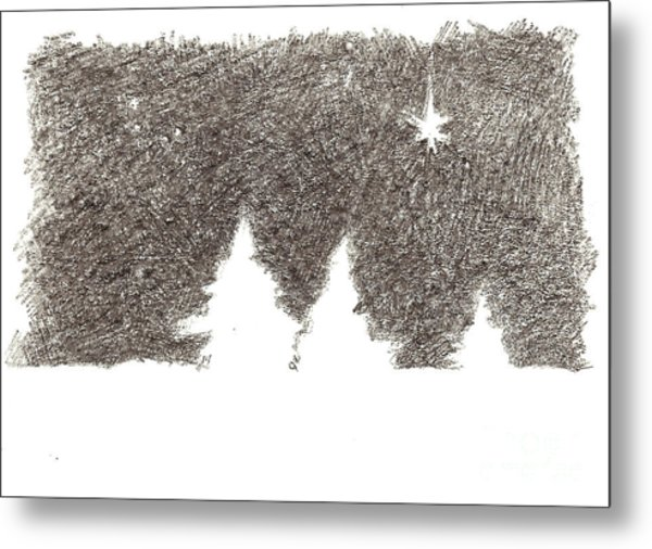 Winter Night - Aceo Metal Print