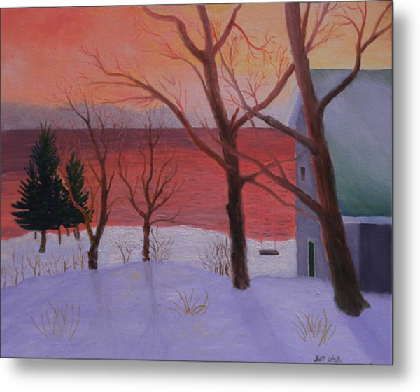 Winter Ocean Sunrise Metal Print
