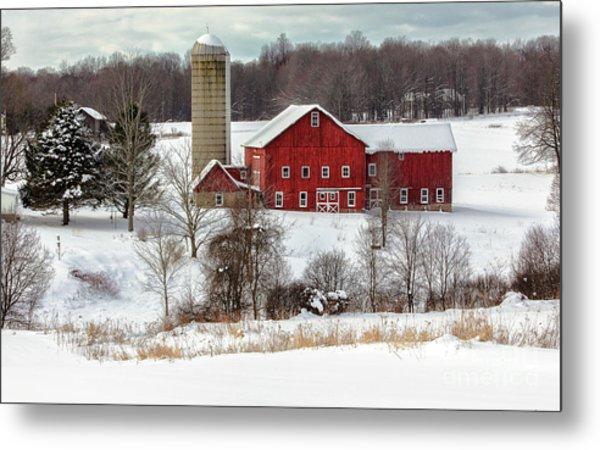 Winter On A Farm Metal Print