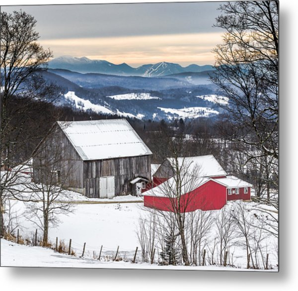 Winter On The Farm On The Hill Metal Print