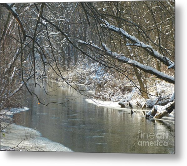 Winter On The Stream Metal Print