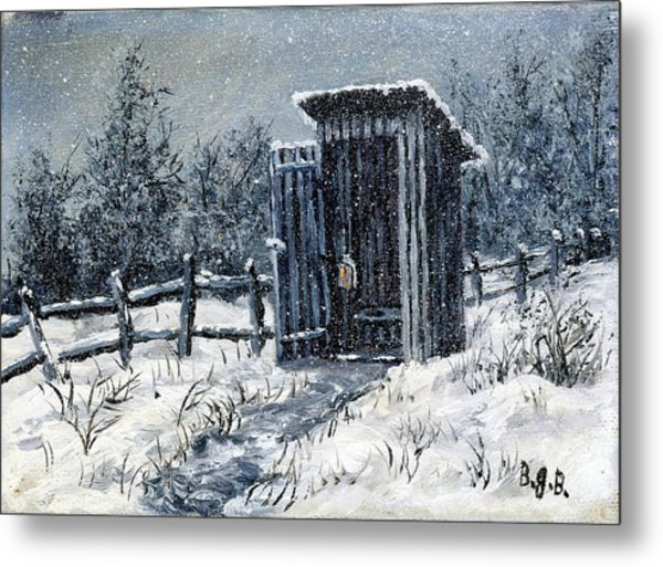 Winter Outhouse #2 Metal Print