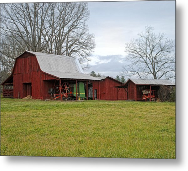 Winter Red Barn Metal Print