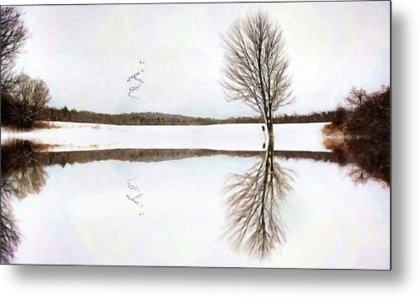 Metal Print featuring the digital art Winter Reflection by Sue Collura