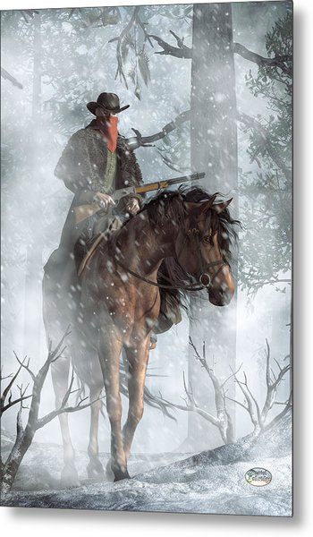 Winter Rider Metal Print