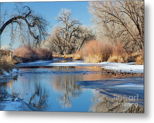 Winter River In Colorado Metal Print