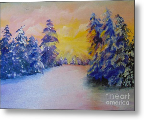 Metal Print featuring the painting Winter by Saundra Johnson