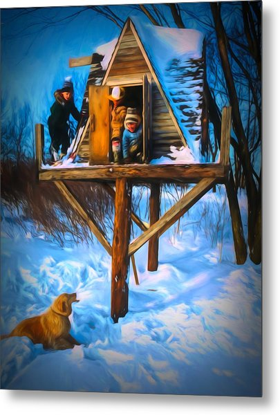 Winter Scene Three Kids And Dog Playing In A Treehouse Metal Print