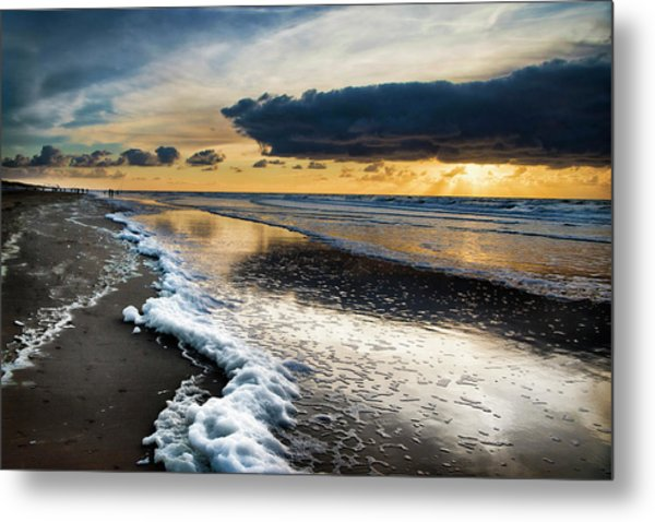 Winter Sea Sunset Metal Print